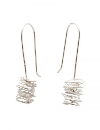 Small Coil Hook Earrings - Silver