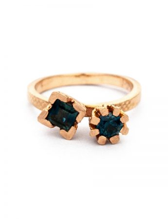 Endellion Ring - Teal & Blue Sapphires