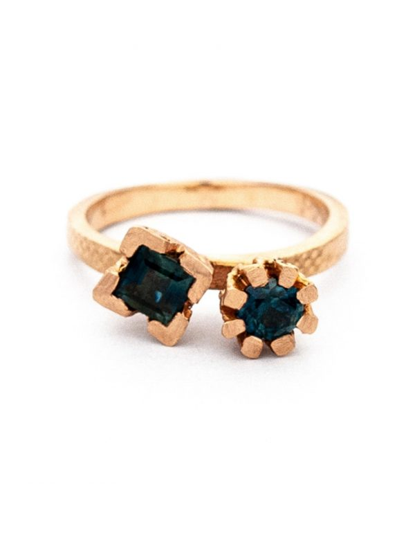 Endellion Ring – Teal & Blue Sapphires