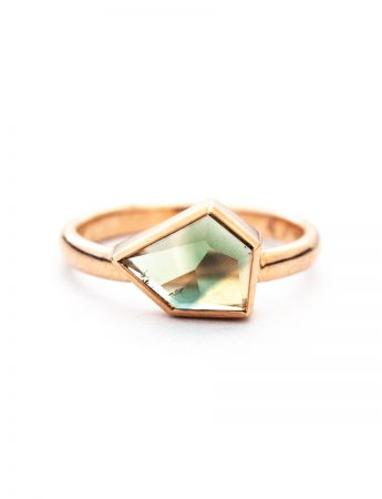 Free Form Parti Sapphire Solitaire Ring - Rose Gold