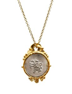 Goddess Of Protection Pendant Necklace - Sterling Silver And Gold Keum-Boo - Romy Mittelman - Front