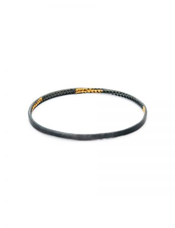 Hidden Triangle Textured Bangle - Black & Gold