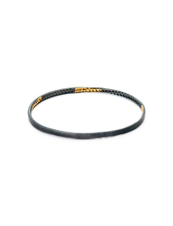 Hidden Triangle Textured Bangle – Black & Gold