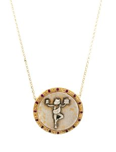 High Priestess Of Managing It All Pendant Necklace - Yellow Gold And Sterling Silver Coin With Rubies - Romy Mittelman - Front