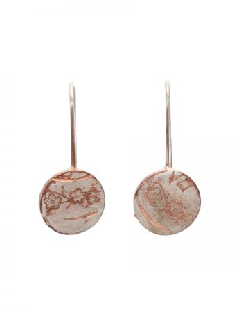 Japanese Blossom Hook Earrings - Rose Gold