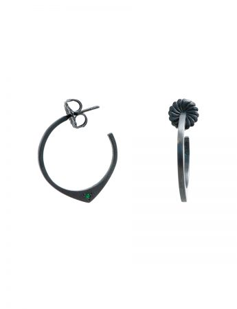 Black Knife Edge Hoop Stud Earrings - Emerald