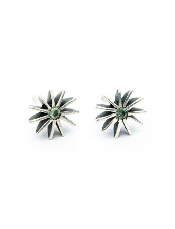 Large Radiant Star Earrings - Green Sapphires