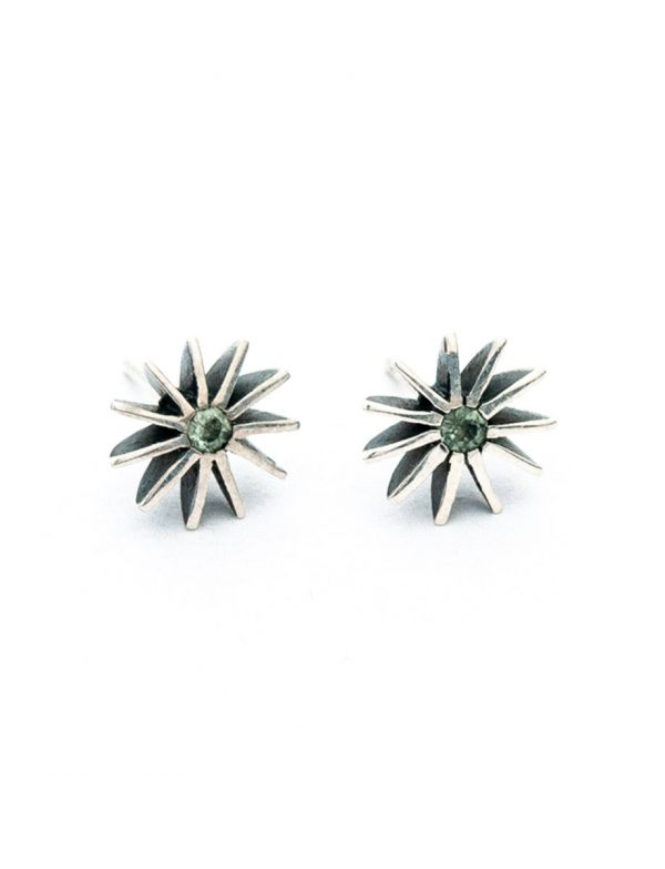 Large Radiant Star Earrings – Green Sapphires
