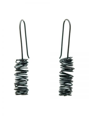 Long Coil Hook Earrings - Black