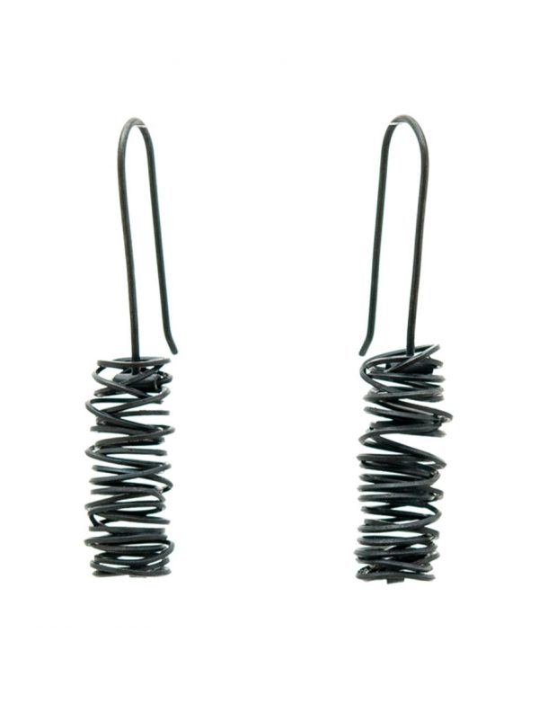 Long Coil Hook Earrings – Black