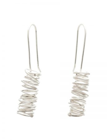 Long Coil Hook Earrings - Silver
