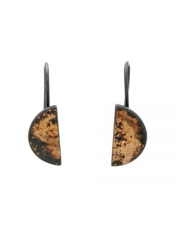 Medium Galaxy Half Moon Hook Earrings - Black And Yellow Gold
