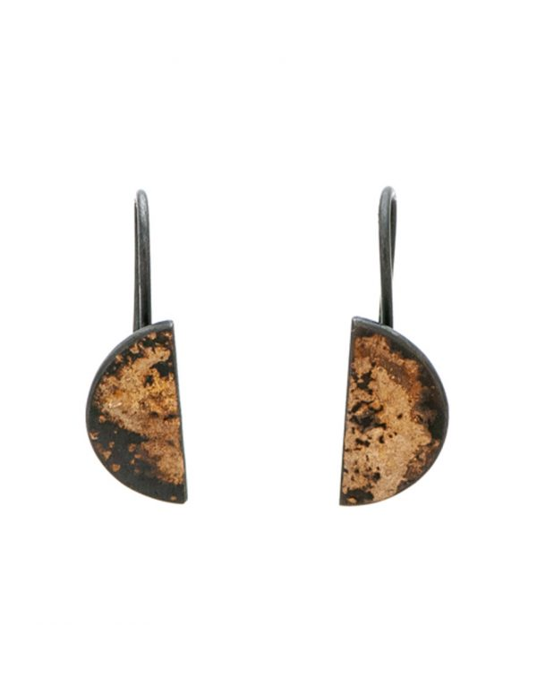 Medium Galaxy Half Moon Hook Earrings – Black And Yellow Gold