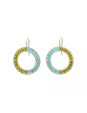 O Earrings - Light Blue & Green
