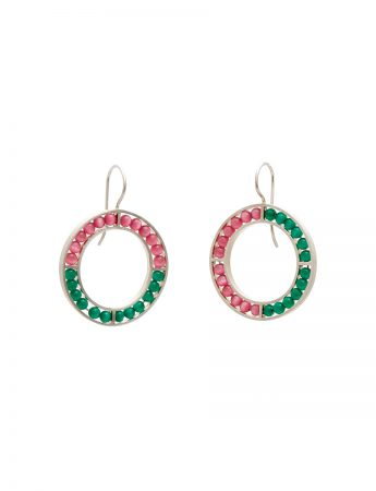 O Earrings - Pink & Green