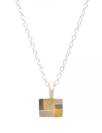 Petite Rectangle Terrain Necklace - White & Yellow Gold