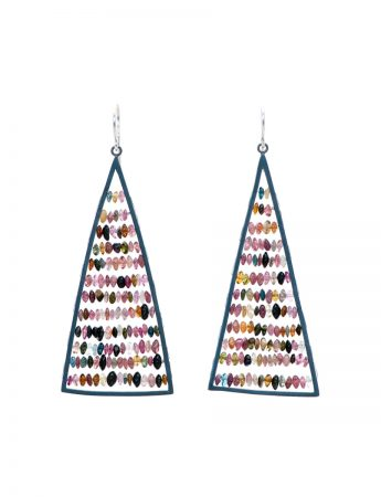 Triangle Reef Earrings - Multicolour Tourmalines