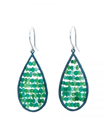 Teardrop Reef Earrings - Emerald, Garnet & Onyx