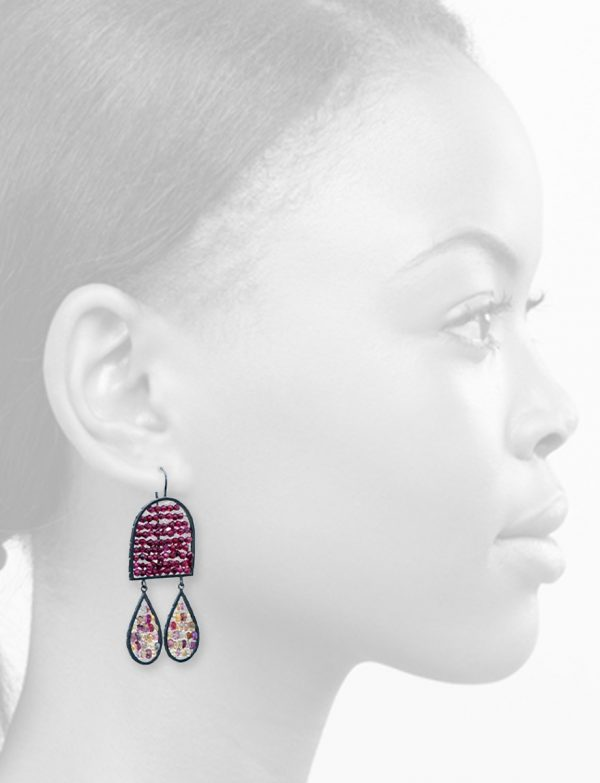 Arch & Teardrop Reef Earrings – Garnet & Sapphire