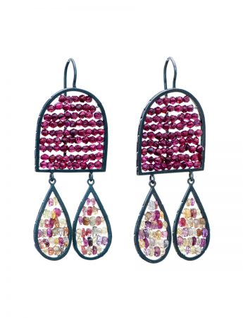 Arch & Teardrop Reef Earrings - Garnet & Sapphire