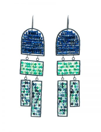 Long Arch & Rectangle Reef Earrings - Lapis Lazuli & Emerald