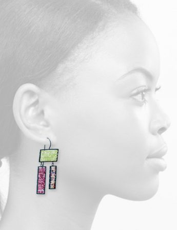 Triple Rectangle Reef Earrings - Peridot, Tourmaline & Sapphire