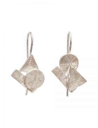 Shape On Shape Hook Earrings - Silver