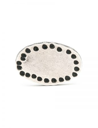 Small Oval Single Stud Earring - Blackened Silver
