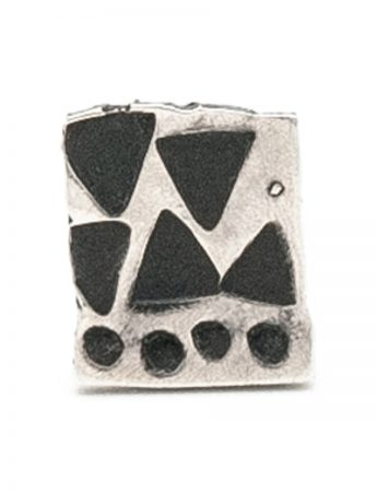Small Square Single Stud Earring - Blackened Silver