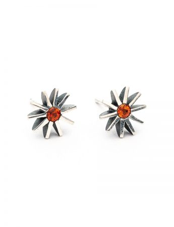 Small Radiant Star Earrings - Orange Sapphires