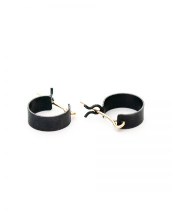 Small Shikaku Hoop Earrings - Black & Gold