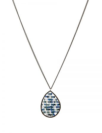 Teardrop Reef Pendant Necklace - Blue & Grey Sapphires