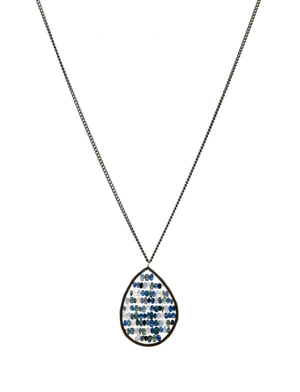 Teardrop Reef Pendant Necklace – Blue & Grey Sapphires