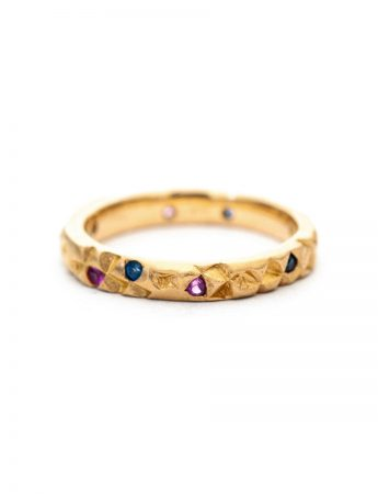 Triangle Textura Ring - Blue & Pink Ceylon Sapphires