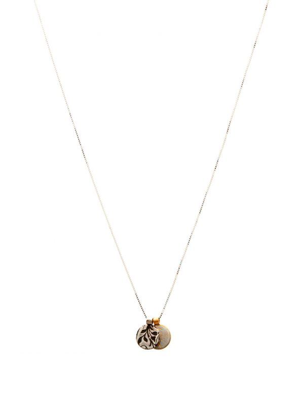 Two Charm Necklace – Swirl & Blossom