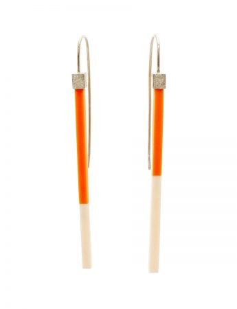 Long Two Tone Earrings – Orange & Peach