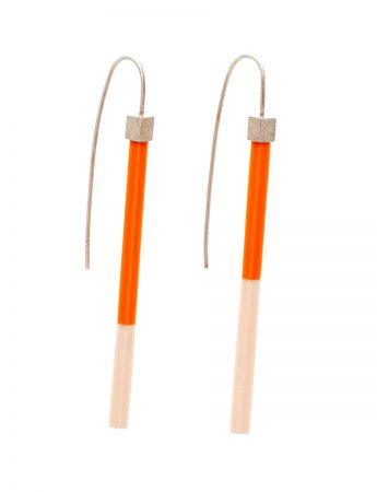Long Two Tone Earrings - Orange & Peach