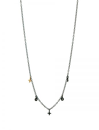 XO Love Charm Necklace - Black & Gold