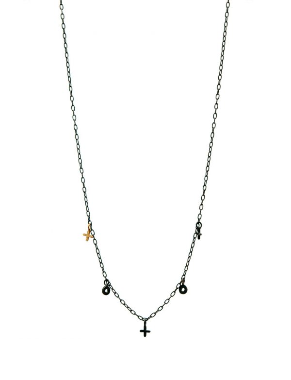 XO Love Charm Necklace – Black & Gold
