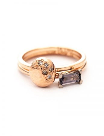 Glimmer Two Stack Ring - Rose Gold, Diamond & Spinel