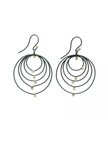 Puddle Pois Earrings - Black & Gold