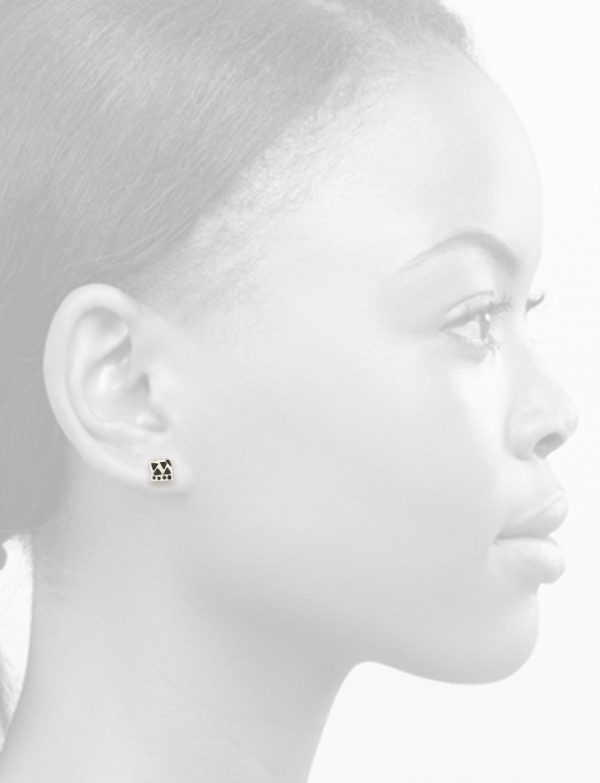 Small Square Single Stud Earring – Blackened Silver