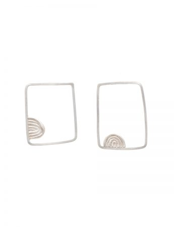 Square Sen Lines Tribal Earrings - Silver