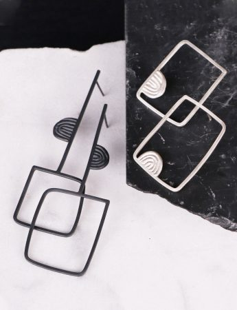 Large Square Tribal Sen Lines Earrings - Black