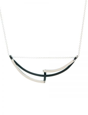 Continuum Curved Reversible Necklace - Black & Silver