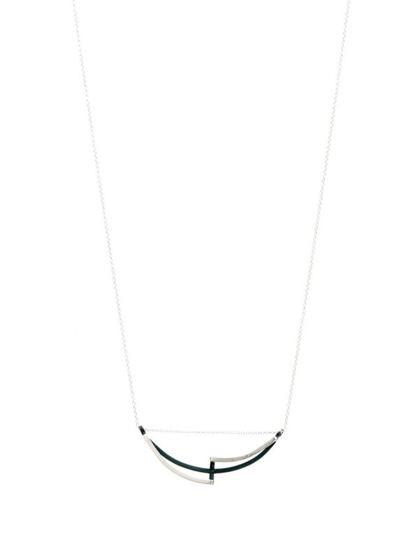 Continuum Curved Reversible Necklace – Black & Silver