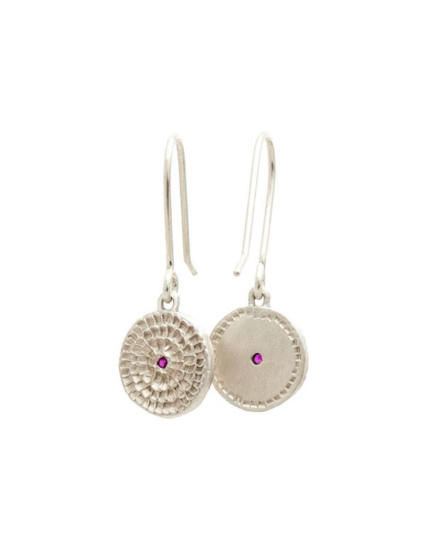 Continuum Earrings – Sterling Silver And Rubies