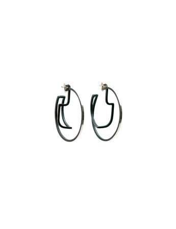 Continuum Hoop Earrings - Silver & Black