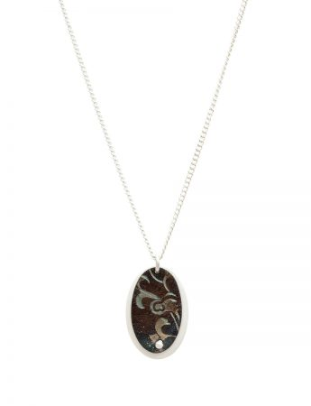 Deep Etch Oval Pendant Necklace - Black & Silver
