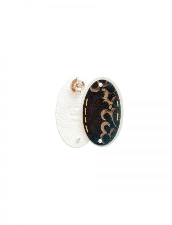 Deep Etch Oval Stud Earrings - Black & Gold